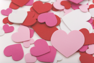 Paper valentines in red, pink and white