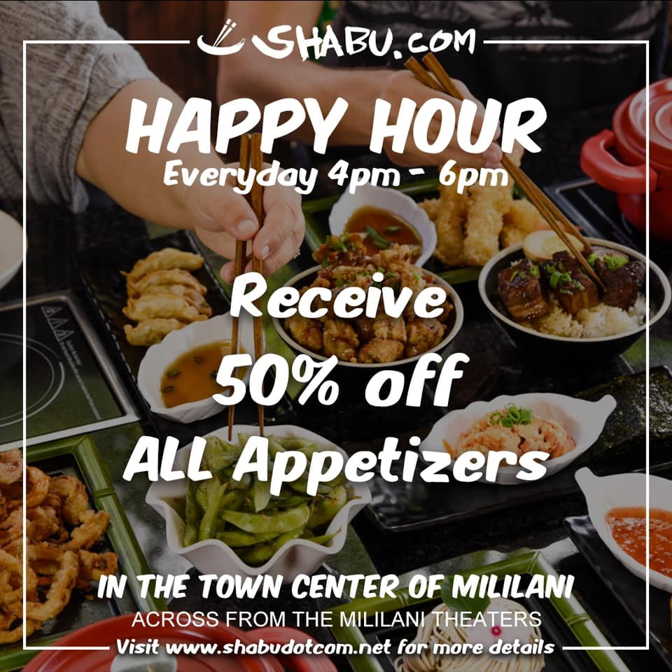 <p>Happy Hour – 50% Off Appetizers</p>