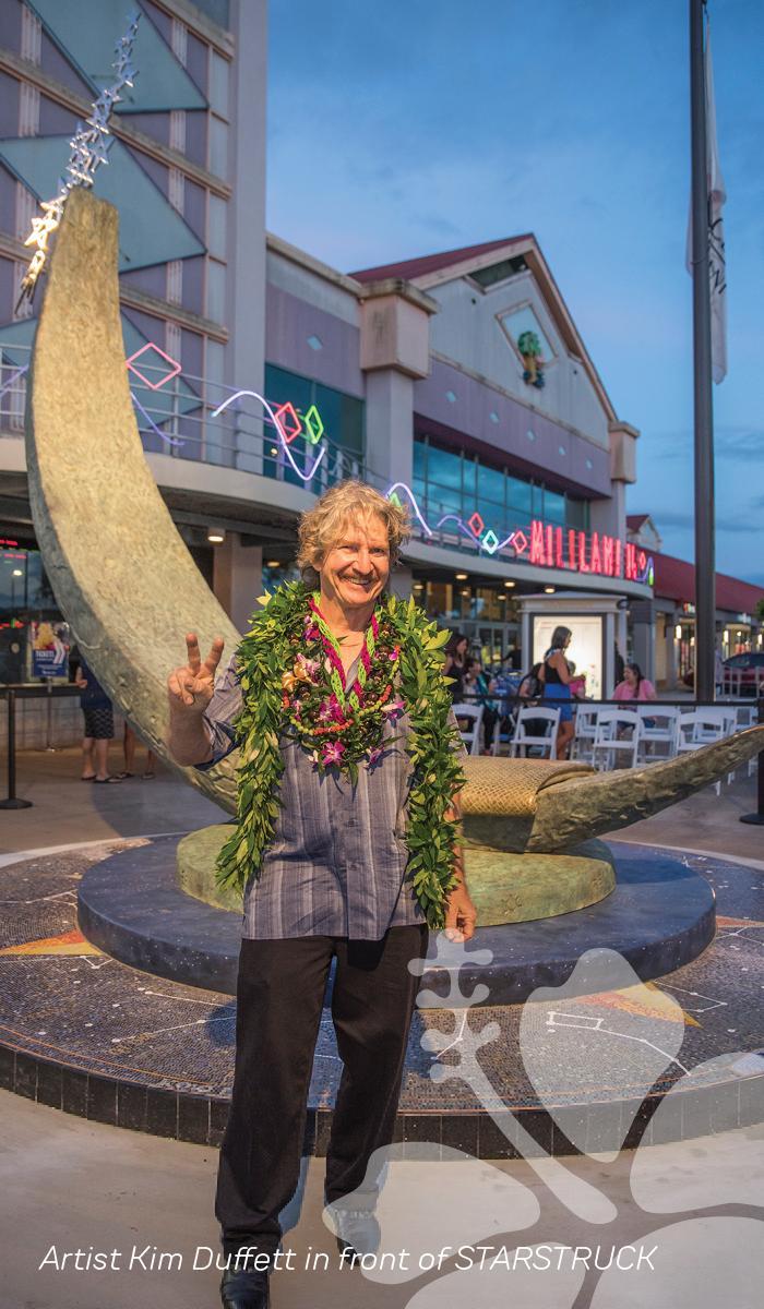 Artist Kim Duffet in front of Starstruck sculpture